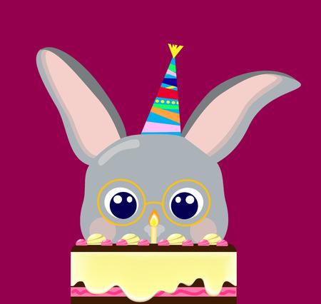 Happy birthday grey rabbit and creamy cake vector illustration, lovely rabbit birthday, 1 year birthday, birthday postcard, nerd rabbit, baby animal birthday, grey hare, cute bunny birthday postcard