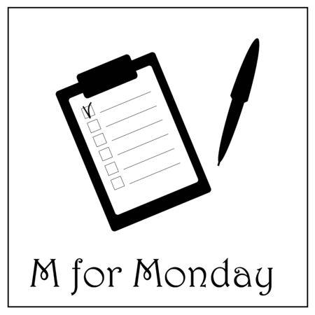 M voor maandag werkweek vector illustratie
