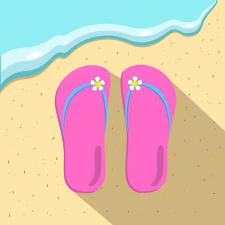 flipflop: Pink slippers and a sea wave on the beach flat style vector illustration, pink slippers icon, sea and beach shoes, beach life concept illustration, summer holiday illustration, sea wave and sand beach
