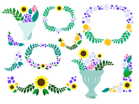 calendula: Summer flower wreaths and bouquets vector - meadow floral clip art, sunflower, chamomile, forgetmenot, in cool color palette, wedding clipart Illustration