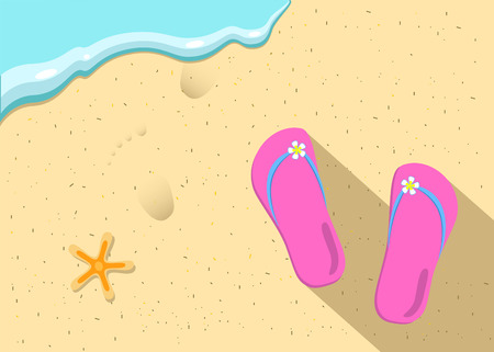 Slippers and sea wave on the beach vector illustration, summer holiday postcard, seaside vacation illustration, summer vacation vector picture, slippers, sea, starfish, footsteps, sea wave, sand beach