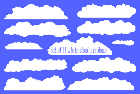 clouds clipart: White fluffy cloud ribbon set, white ribbons from clouds for wedding or baby shower, invitation design with clouds, cartoon clouds clipart, collection of ribbons white clouds, heaven white clouds set Illustration