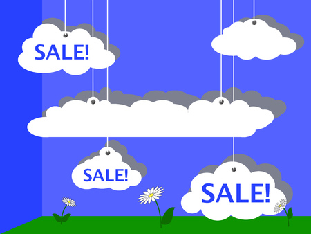 optimistic: Sale advertisement vector illustration with summer sky and meadow, summer sale banner, clouds design for discount flyer, funny cartoon sale, optimistic sale picture, illustration sale with text place