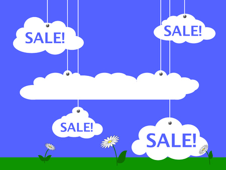 optimistic: Sale advertisement vector illustration with blue sky, white clouds and summer meadow, summer sale banner, discount flyer, funny cartoon sale, optimistic landscape picture, illustration with text place