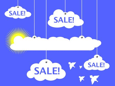 advertisement: Sale advertisement vector illustration, white clouds and summer sun, white clouds and white dove bird, summer sale banner, discount flyer, optimistic heaven advertisement, illustration with text place