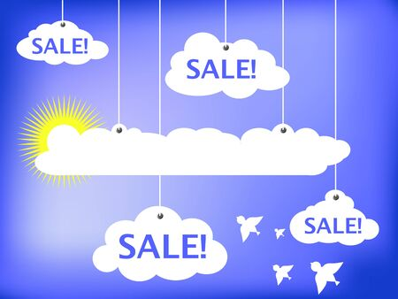 optimistic: Sale advertisement vector illustration, white clouds and summer sun, white clouds and white dove bird, summer sale banner, discount flyer, optimistic heaven advertisement, illustration with text place