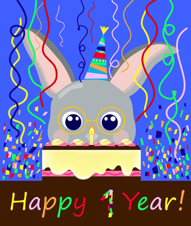 year of the rabbit: Birthday postcard 1 year, lovely rabbit and creamy cake vector illustration, chocolate cake for birthday, happy birthday lovely bunny, first year birthday postcard, colorful confetti birthday card,