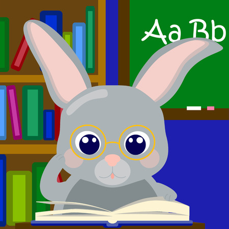 Bunny boy teaching alphabet, rabbit in school vector illustration, cute grey rabbit in glasses, study letters, school scene with nerd, nerdy rabbit reading, class room with teacher, learning alphabet Illustration