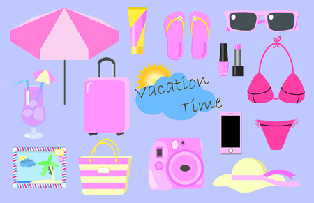 Pink set of girl's luggage for summer vacation