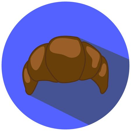 scone: Chocolate croissant illustration in flat style, hand-drawn bakery, chocolate pastry picture, chocolate croissant icon, french bakery for breakfast, croissant drawing on blue, isolated croissant Illustration