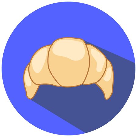scone: White croissant illustration, flat style, sweet dessert icon, french bakery croissant illustration, wheat croissant on blue, vanilla croissant picture, hand-drawing, hand-drawn croissant