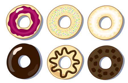 scone: Set of donuts flat illustration, donuts collection picture, six donuts in flat style, sweet pastry ,dessert donuts illustration, set of pastries, morning breakfast bakery