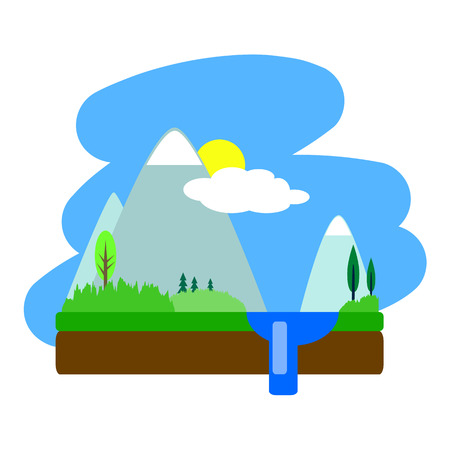 illustration isolated: Flat summer landscape illustration, summer landscape with mountains, trees and lake, water landscape drawing, flat landscape on white, optimistic landscape, peaceful landscape, sun and clouds Illustration