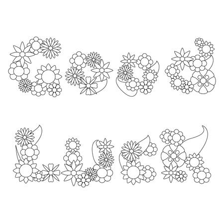 Floral Nummer 4, Nummer Vier Von Blumen Malvorlagen Illustration ...