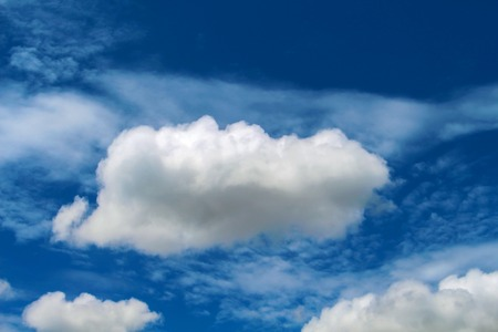 Cloud in the blue sky. Relaxing image for banner or card template. Conceptual picture for ease, leisure, doing nothing, good mood, optimism. Summer skyscape in the afternoon. White fluffy cloud photo