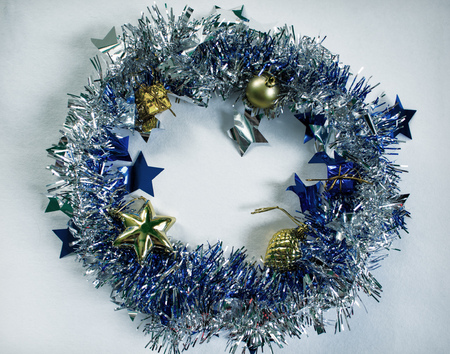 christmas wreath on white photo blue fluffy wreath with gold fir tree toys toned