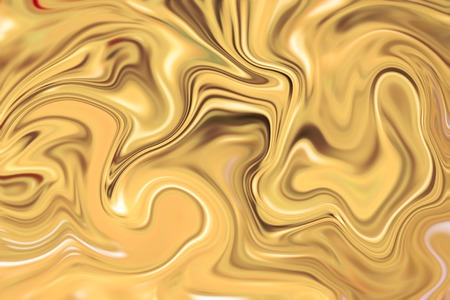 Marble abstract background digital illustration. Liquid gold surface artwork with yellow paints. Precious metal flow image. Gold waves marble texture. Stone with gold suminagashi ink pattern picture