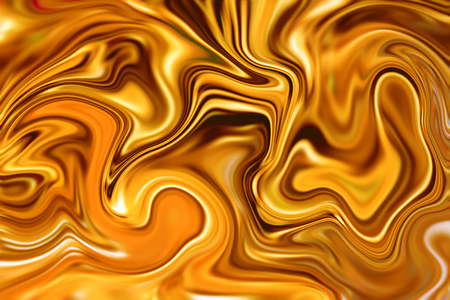 liquid gold: Marble abstract background digital illustration. Liquid gold surface artwork with orange paints. Precious metal flow image. Orange and yellow marble texture. Suminagashi ink gold pattern picture Stock Photo