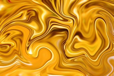 liquid gold: Marble abstract background digital illustration. Liquid gold surface design. Yellow paint mix. Precious metal flow image. Gold marble texture. Suminagashi ink paper. Glamour gold luxury banner or card