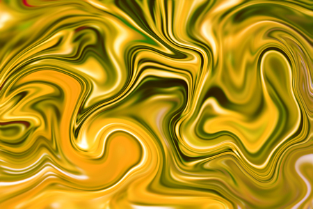 liquid gold: Marble abstract background digital illustration. Liquid gold surface artwork with yellow paint. Precious metal flow image. Orange shade marble texture. Suminagashi golden abstract pattern picture Stock Photo