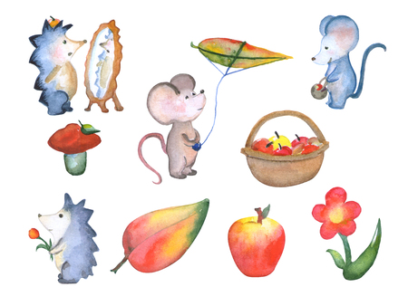 Forest cute little animals fall season watercolor illustration, hand painted nursery illustrations isolated, hand panted mouse characters in cartoon style, hedgehog character, apple, autumn activity