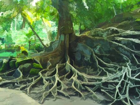 Old tree with huge root system in tropical forest. Exotic tree digital illustration in painting style. Tree trunk with roots above the ground. Bright sunlight and vibrant greenery in tropical garden