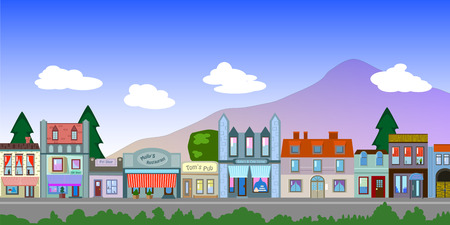 greenery: Old Town houses and street vector illustration in flat style, retro buildings of small american middle west town.