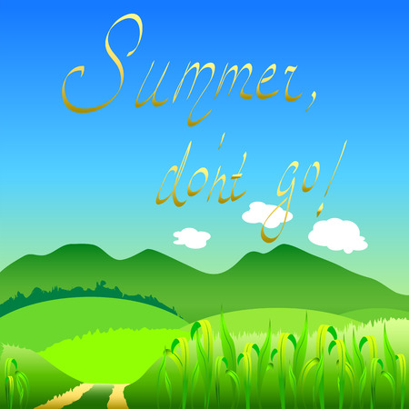 Summer dont go flat style countryside landscape vector illustration, summer landscape flat style, summer landscape banner, summer landscape drawing, summer landscape image, summer landscape template
