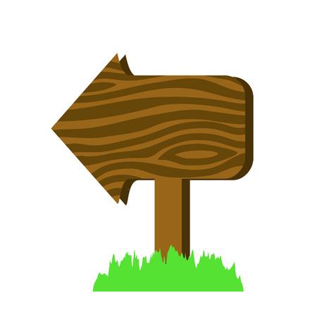 Wooden arrow sign in cartoon style vector illustration. Arrow sign design. Arrow sign vector. Wooden signpost. Wooden sign illustration. Wooden arrow sign information. Wooden pointer. Arrow sign icon Illustration