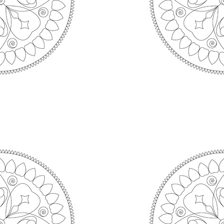 Square coloring book cover or background illustration with mandala ornament. Lace doilies ornament for wedding decor, paper card, birthday invitation. Monochrome banner template. Outlined arabic decor