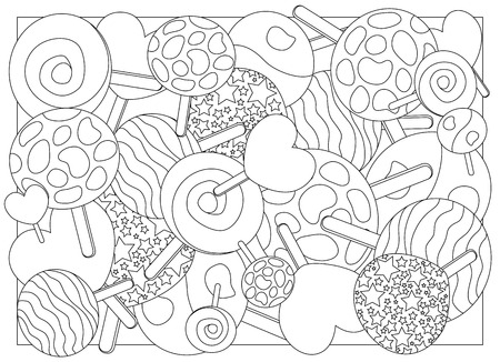 Coloring page lollipops vector illustration, lollipop candy on stick ornament for coloring.