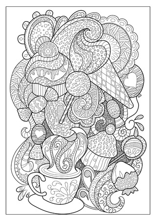 Sweet dessert and coffee outlined vector illustration for coloring. Coffee cup and sweets doodle style coloring page. Stock Illustratie