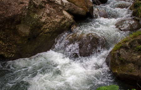 Rafting river among black rocks. Fresh water fast stream in stones. Forest river with clean cold water. Fresh spring in mountains. Natural drinking water concept. Fast water current in wild nature Stock Photo
