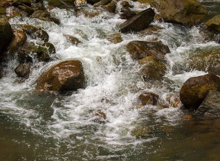 cobble: Fresh water river among black rocks. Fresh aqua fast stream in stones. Forest river with clean cold water. Fresh spring in mountains. Natural drinking water concept. Fast water current in wild nature