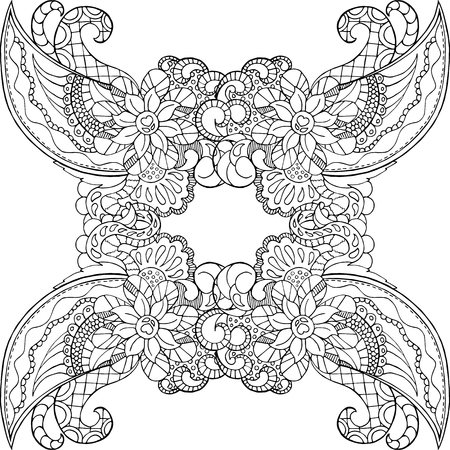Coloring page with doodle ornament. Adult coloring page in square format with place for text. Vector card for coloring. High-detailed picture outlined on white background. Hand-drawn mandala coloring Stock Illustratie