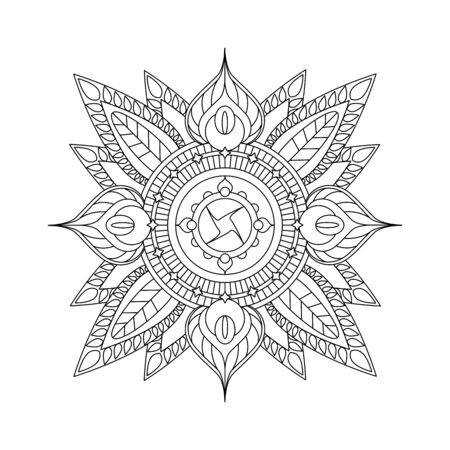 Mandala isolated on white background. Coloring page with vector mandala. Hand-drawn doodle style ornament. Outlined vector mandala with floral elements. Paper design, greeting card decor