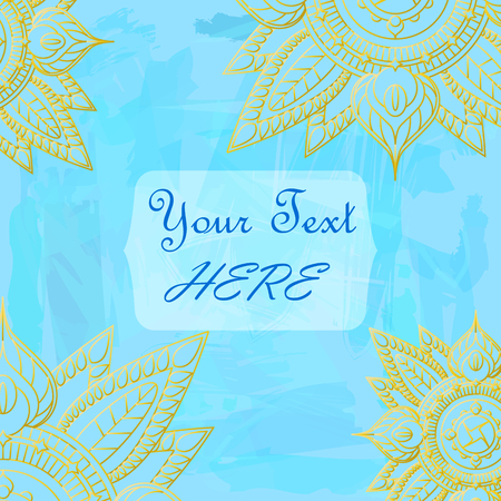 Golden mandala on blue textured background. Hand-drawn vector illustration for postcard, wedding invitation, greeting card. Sophisticated paper design with watercolor backdrop. Summer floral decor