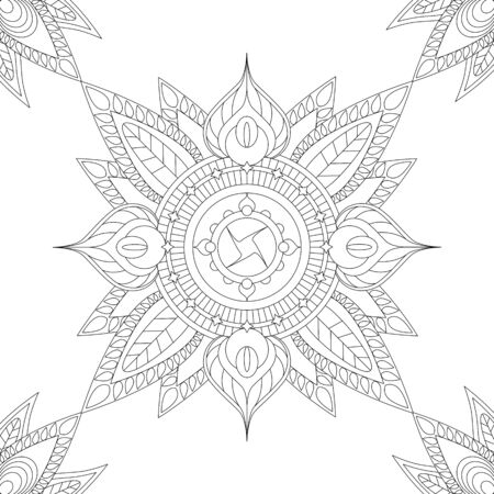 Ethnic mandala with floral elements and leaves. Vector illustration for coloring book page or cover, relaxing adult coloring, indian style decoration image. Square picture for wedding decoration