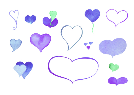 Watercolor heart clipart. Blue and purple watercolour heart isolated on white. Hand-painted heart icons or stickers for Valentines Day design, wedding invitation, love letter. Heart frame and bubble