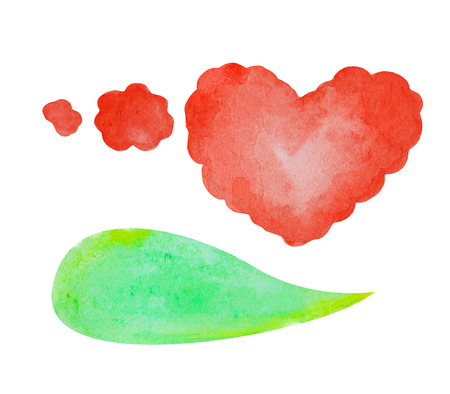 Watercolor speech bubble on white background. Green text bubble cloud hand-drawn element. Isolated bubble clipart. Red heart thought bubble. Conversation or dialogue illustration in comics style