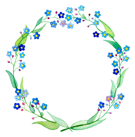 Forget-Me-Not wreath watercolor illustration. Spring flower Forgetmenot with petals and leaves. Handdrawn floral wreath. Spring wedding design clipart. Blue flower arrangement. Forget-me-not frame Stock Photo