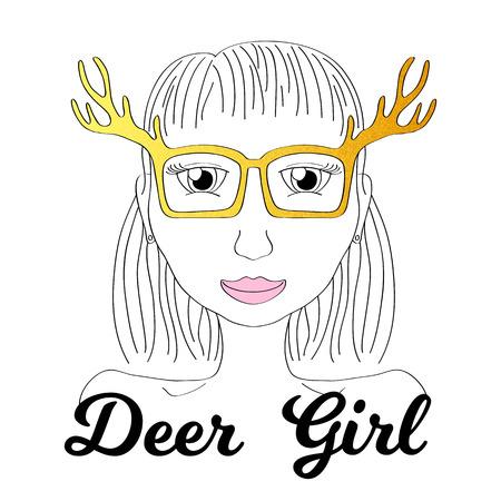 girlish: Girl in deer horn glasses. Boho style fashionista girl print. Deerhorn thin line vector illustration. Golden glitter glasses fashion poster. Elk horn glasses design. Funny young woman smiling drawing