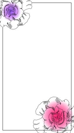 Fotolijst van smartphone. Zwarte inkt pioenroos bloem ornament. Snapchat messenger bruiloft geofilter. Rose bruiloft uitnodiging vector sjabloon. Romantische bloemenoverlay voor chat. Sociale media verticale banner