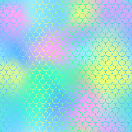 Mermaid seamless pattern vector background. Mermaid tail with fish scale seamless pattern for packaging or surface design. Fantastic marine seamless background for nursery design. Colorful mesh tile