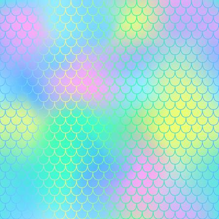 Fondo de vector de patrón sin costuras de sirena. Cola de sirena con patrón sin escala de pescado para el diseño de embalaje o superficie. Fantástico fondo transparente marino para el diseño de vivero. Colorido mosaico de malla