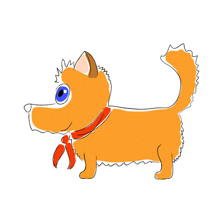 Orange dog with red tie vector illustration on white background. Cute doggy pet with red ribbon. Handdrawn corgi dog. Shiba Inu nursery clipart. Fox scotch terrier icon. Domestic animal. Funny puppy