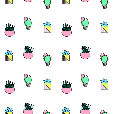 houseplants: Tiny cactus and succulent vector seamless pattern. Green plants pattern tile. Cacti flowerpot pattern for textile or wrapping paper. Trendy hipster cactus doodle background. Succulent texture on white