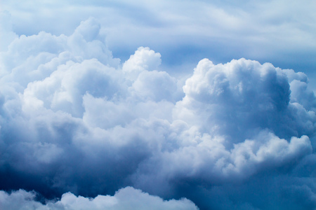 overcast: Summer sky with fluffy clouds background photo. White cloud backdrop. Rainy clouds on blue sky. Daytime skyscape with cumulus. Tropical climate. Rain season weather. Pure and clean air. Heaven concept