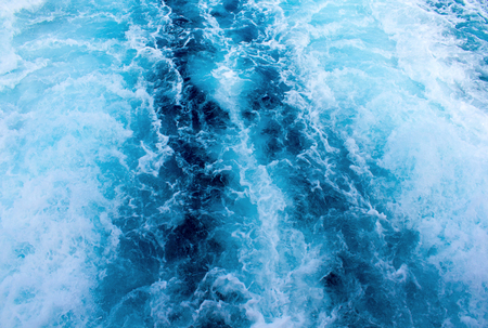 pitching: Sea water ship trail with white foamy wave. Tropical islands ferry travel. Bubble tail after cruise ship. Deep ocean view. Big ship pitching image. White water wave in the sea. Exotic island hopping Stock Photo