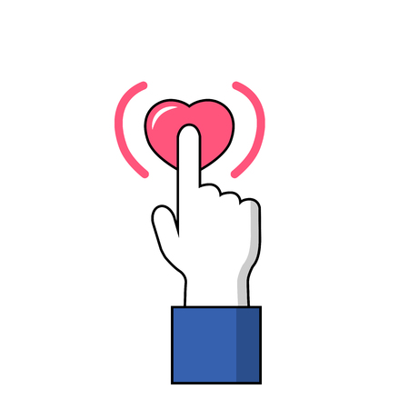Hand with pointed finger on heart button. Facebook hand on Like button vector icon on white background. Love heart sign under signal finger. Human hand with pointed finger in flat style. Heart signal 免版税图像 - 83810422
